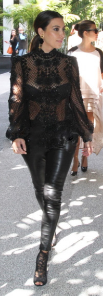 Kim Kardashian - Black Lace and Leather