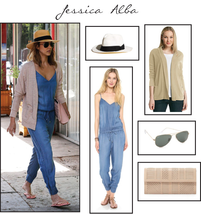 Jessica Alba - Chambray Jumpsuit | technical-designer.com